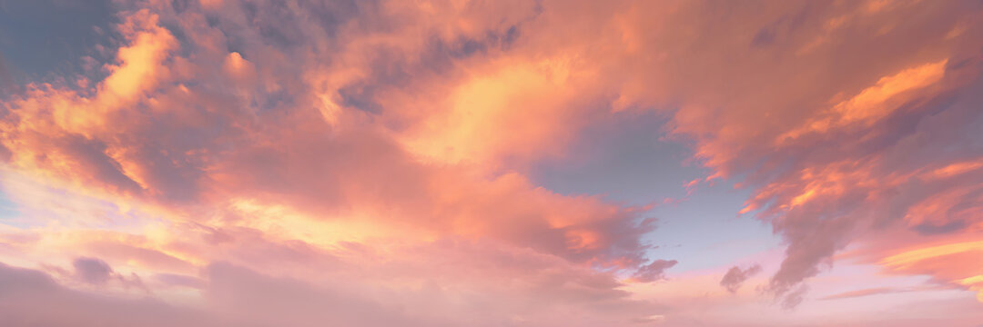 background of cloudscape with beautiful clouds at sunset on sky