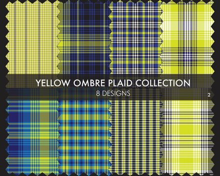 Yellow Ombre Plaid textured Seamless Pattern Collection