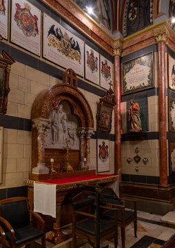 The left altar in the interior of the room in which the church is located in the Austrian Hospice building in the old city of Jerusalem in Israel