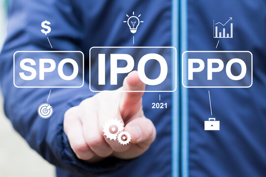 Initial Public Offering service finance business concept. Businessman touched IPO icon on virtual trading screen. The first public sale of shares in joint stock company.