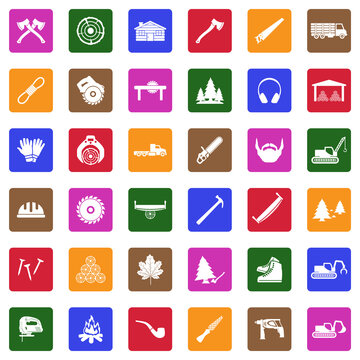 Lumberjack Icons. White Flat Design In Square. Vector Illustration.