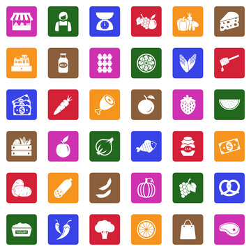 Market Place Icons. White Flat Design In Square. Vector Illustration.