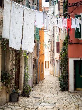 Laundry clothes on a wire at Rovinj Croatia