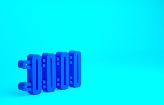Blue Heating radiator icon isolated on blue background. Minimalism concept. 3d illustration 3D render.