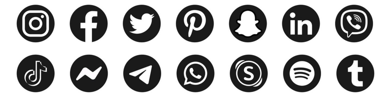 Instagram, facebook, twitter, viber, tiktok, messenger icons. Pinterest, snapchat, linked in logo. Telegram, whatsapp, skype, spotify and tumblr icons. Editorial. Rivne, Ukraine - November 26, 2020.