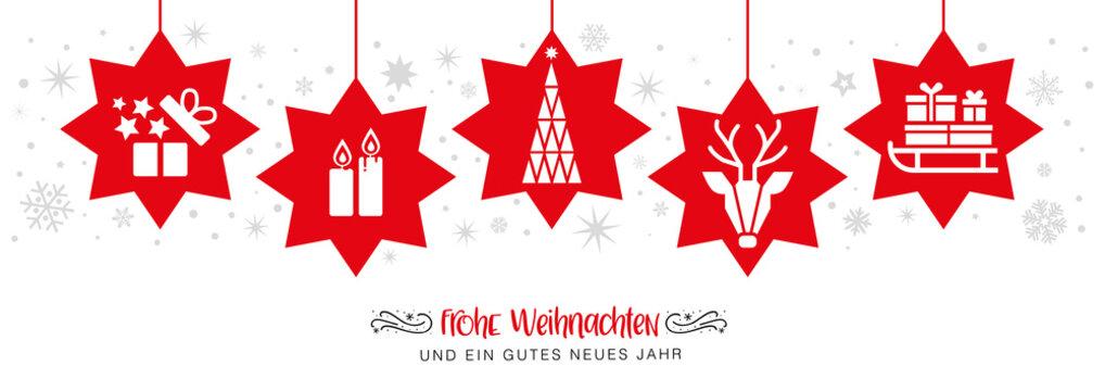 frohe Weihnachten mit roten Sternen - banner Weihnachtsdekoration - deutsch.