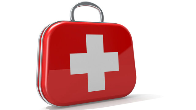 First aid kit box isolated on white background