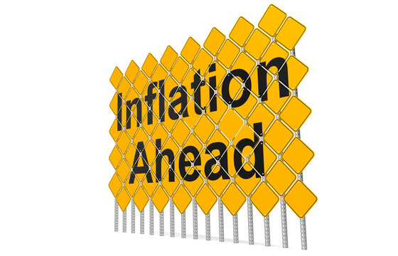 Giant yellow road signs with inflation ahead word