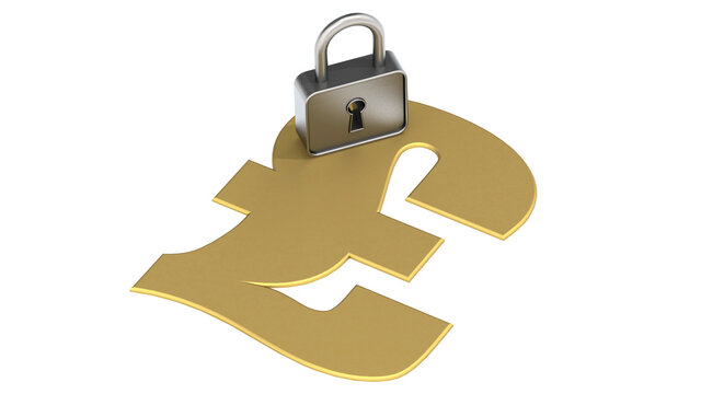 Golden pound sign with padlock