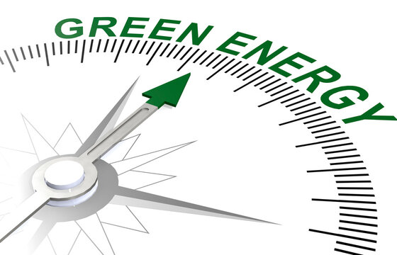 Green energy word on white compass