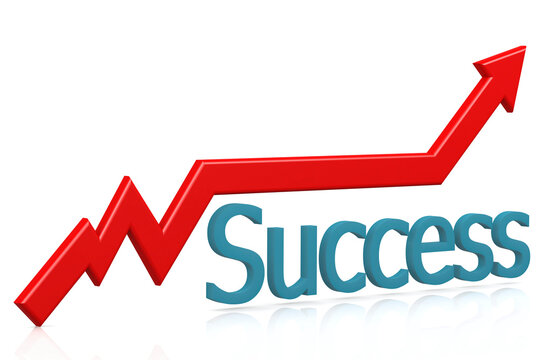 Success and red arrow on white background