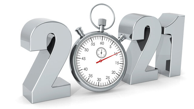 Year 2021 with stopwatch isolated