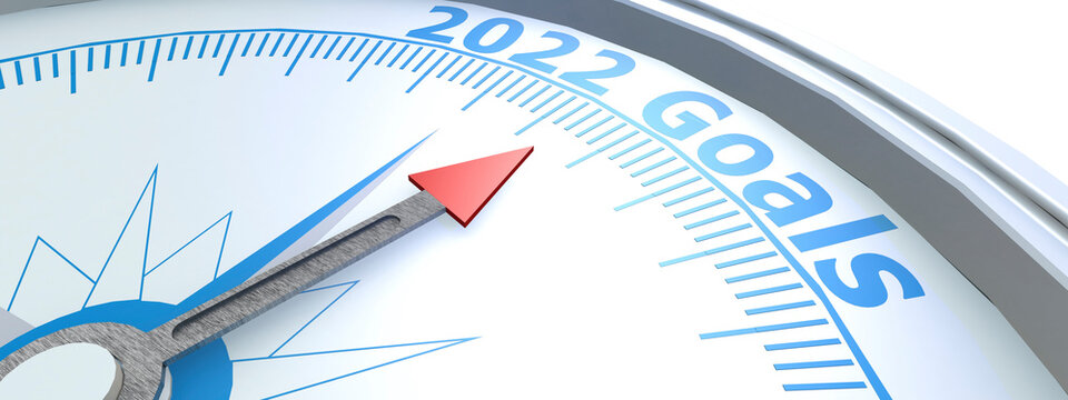 Compass with needle pointing to word 2022 goals