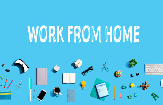 Work From Home theme with collection of electronic gadgets and office supplies