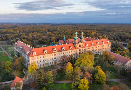 Lubiaz, Poland. Aerial view of historic Cistercian abbey (largest in the world)