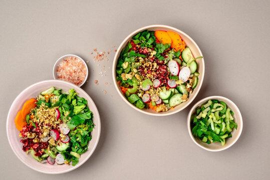Vegan veggie bowl with nuts and Himalayan salt