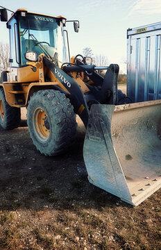 Small Volvo bulldozer in construction site