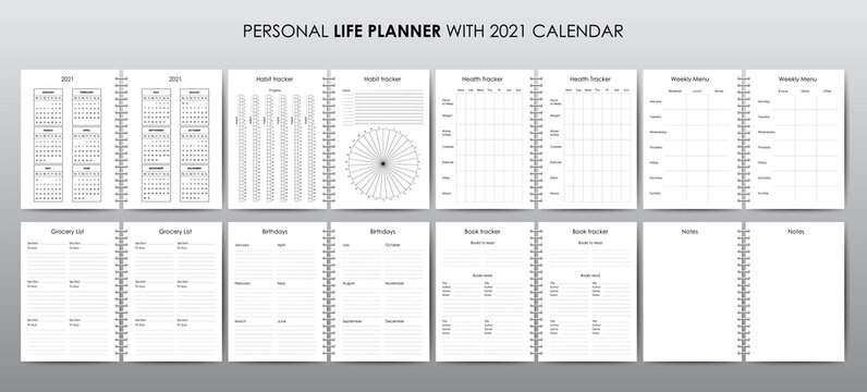 Vector template for personal life planner with 2021 calendar