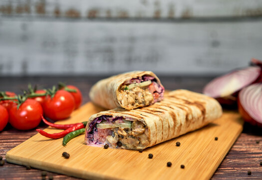 hot Shawarma with vegetables on the table