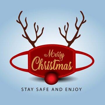 merry Christmas greetings, face mask and rein deer horns. covid 19 corona virus concept. vector illustration design