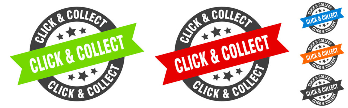 click & collect stamp. click & collect round ribbon sticker. tag