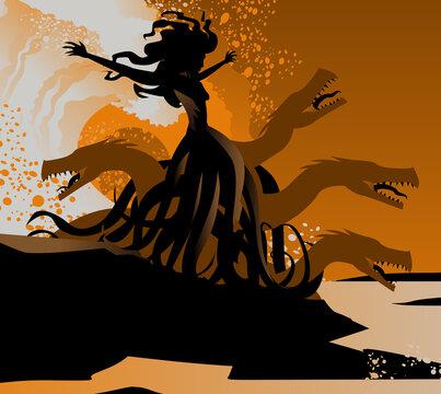 orange and black scylla sea monster