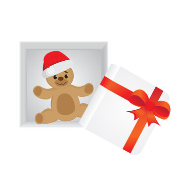 Teddy Bear wearing Christmas hat inside of open gift box. Vector illustration