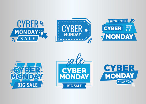 bundle of six cyber monday banners vector illustration design