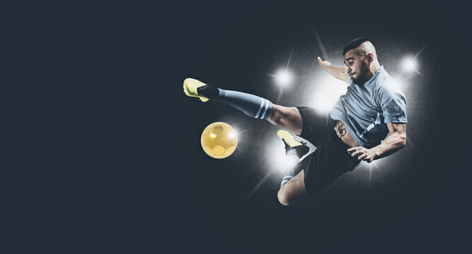 Soccer player in action on dark background