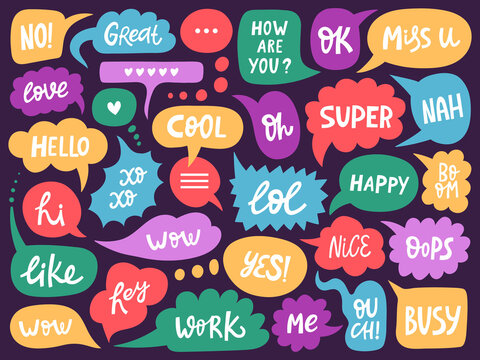 Doodle conversation clouds. Dialogue chat bubbles with small talk phrases, think or talk clouds. Hand drawn speech bubbles vector symbols set. Short messages for communication or discussion