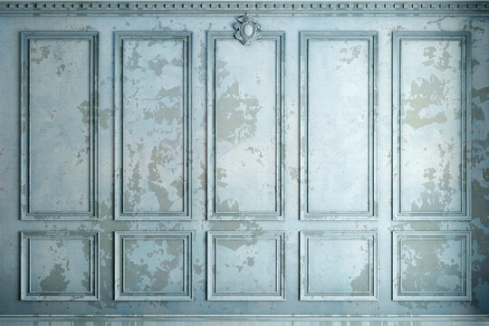 Classic wall of old stucco panels blue paint