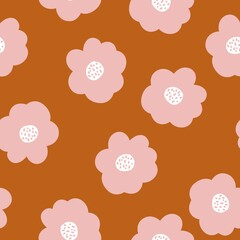 Simple vintage pattern. Big pink flowers. Terracotta background. Vector texture. Fashionable print for textiles and Wallpaper.