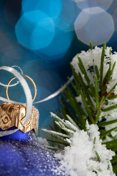Christmas ball decorations with fir tree on blue background