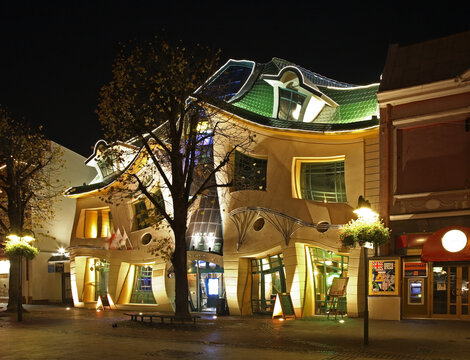 Crooked little house (Krzywy Domek) in Sopot. Poland
