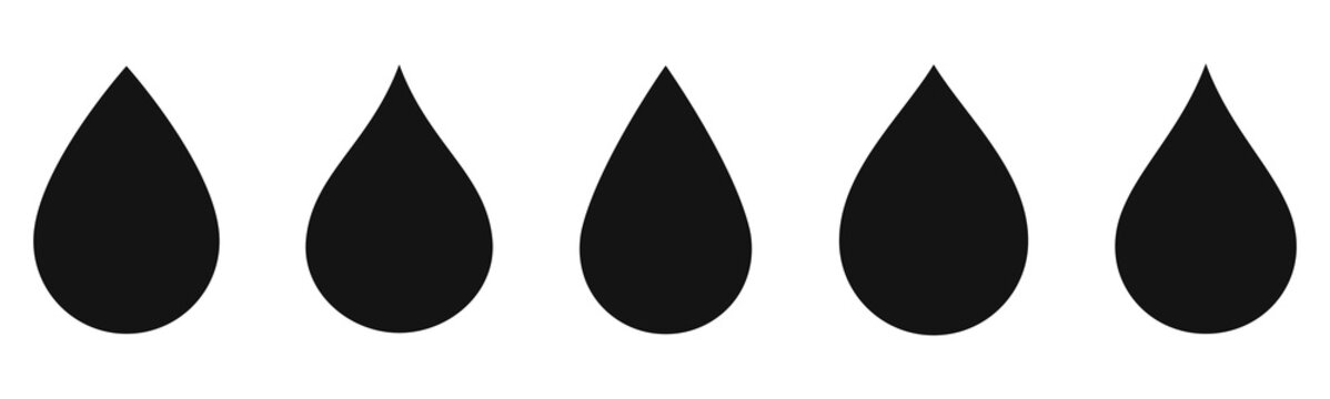 Water drop icons collection. Oil drop set vector