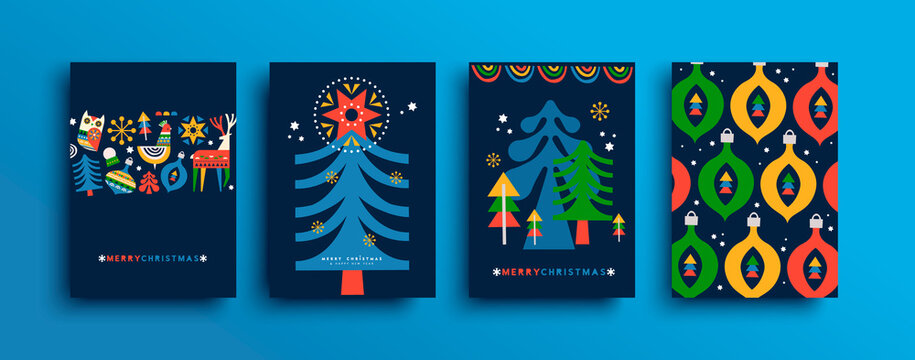 Merry Christmas folk pine tree cartoon card set