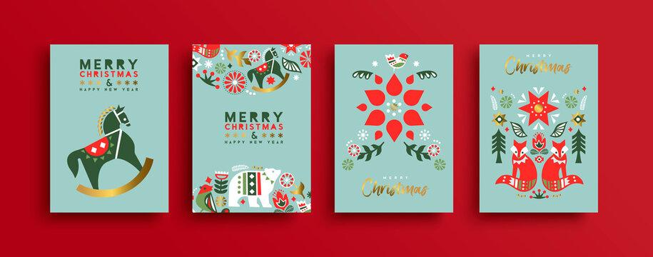 Merry Christmas nordic folk winter icon card set