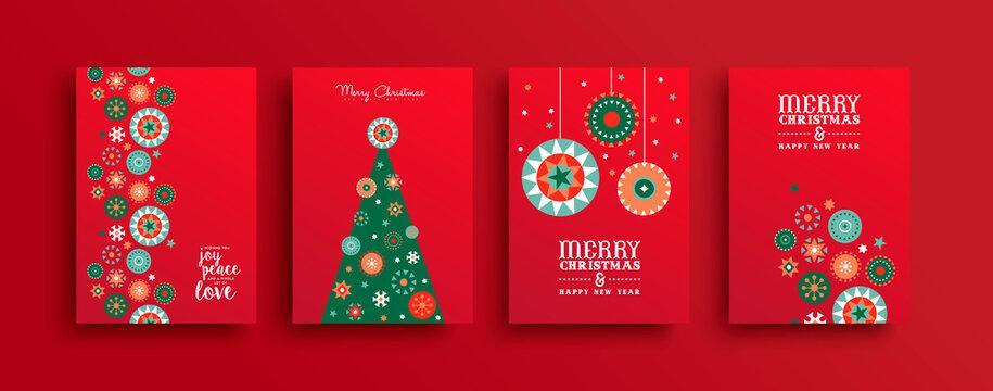 Merry Christmas folk ornament tree card set