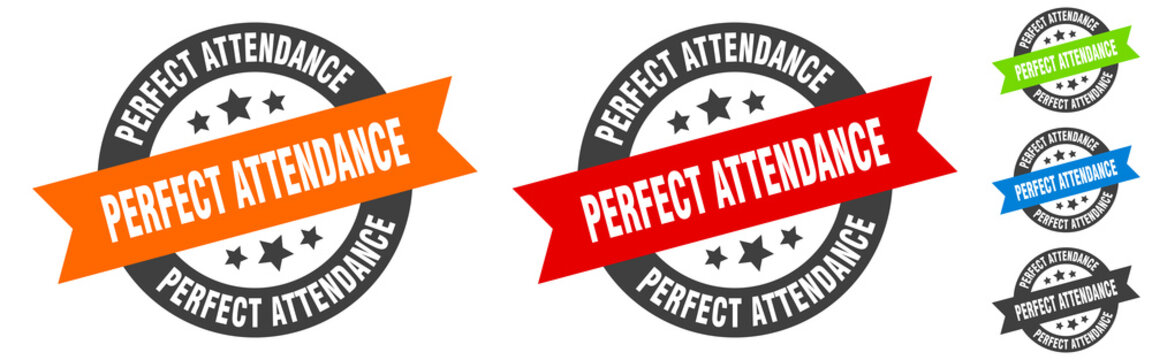 perfect attendance stamp. perfect attendance round ribbon sticker. tag
