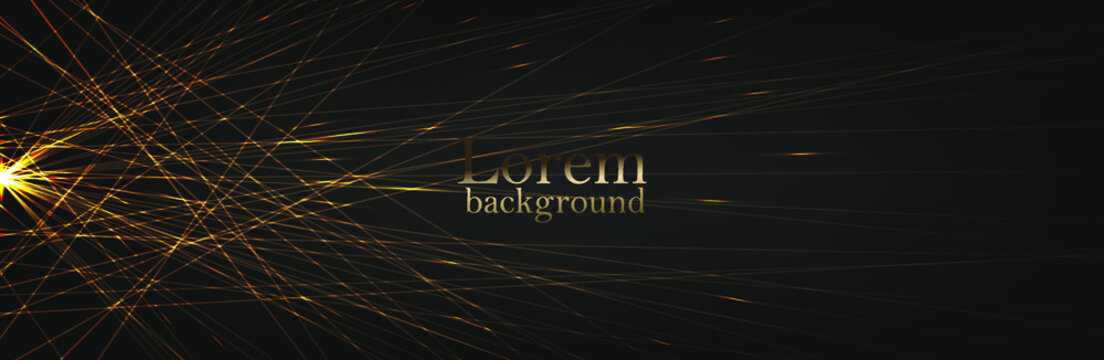 Luxurious abstract golden lines connect at one point to the star. Dark modern background. Suitable as wallpaper background, cover, template. Vector illustration. EPS 10
