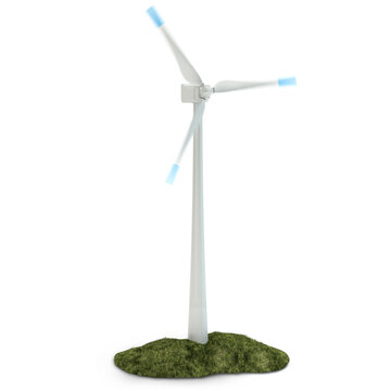 Wind turbine and green grass isolated on white, 3d illustration