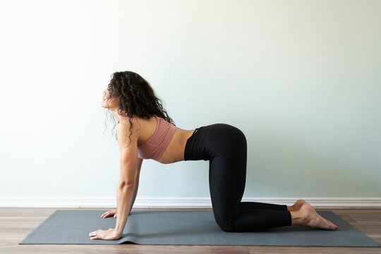Latin young woman doing a yoga session at home
