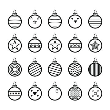 Set of decorated holiday balls, ball on white background, collection. Decoration ornametns for end year holidays. Happy New Year, Xmas, Merry Christmas, tree decors on white background EPS Vector