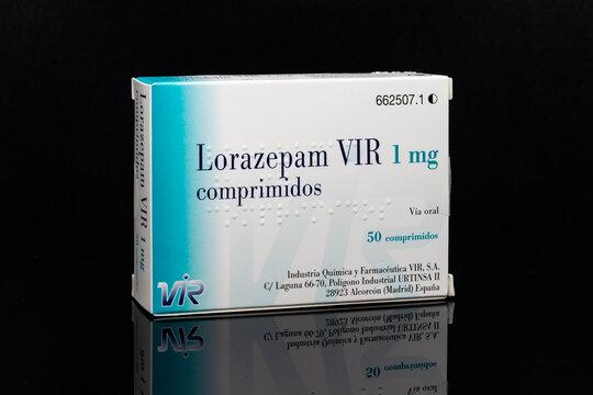 Huelva, Spain - November 26, 2020: Spanish Box of Lorazepam brand VIR. It is used to treat anxiety disorders, trouble sleeping, active seizures.