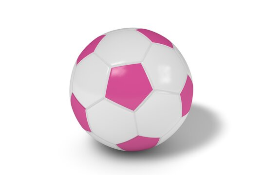 Pink and white soccer ball on a white background. 3d illustration.