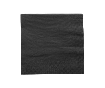 Black clean paper tissue isolated on white, top view