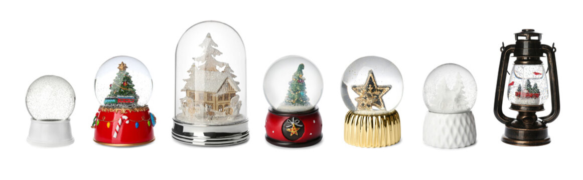 Set of different beautiful snow globes on isolated on white. Banner design