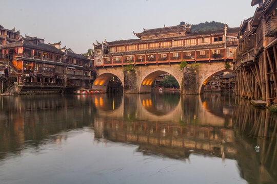 Hong bridge over Tuo river in Fenghuang Ancient Town, Hunan province, China