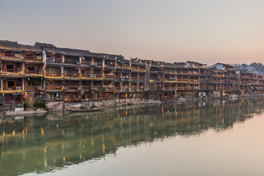 Houses along Tuo river in Fenghuang Ancient Town, Hunan province, China