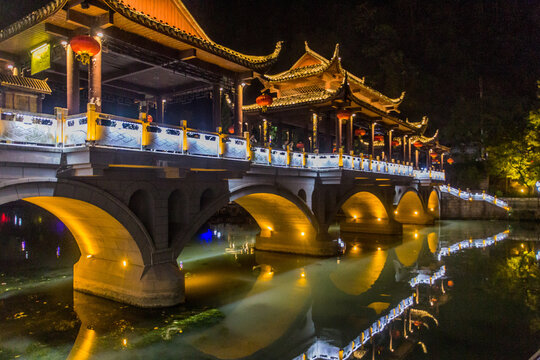 Night view of a bridge in Fenghuang Ancient Town, Hunan province, China